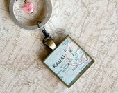 kauai hawaii vintage map necklace   1976 Consolidated Freightways Road Atlas   kauai hawaii   geography   traveler