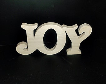 Joy Unfinished Stand Alone Wood Letters Stk No.  J-4-.75-6-UC-SA