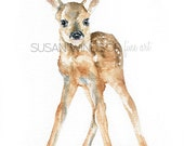 Deer Fawn Watercolor Painting Giclee Print 11x14
