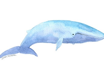 Blue Whale Watercolor Painting - 5 x 7 - Giclee Print - Sea Life Wall Art