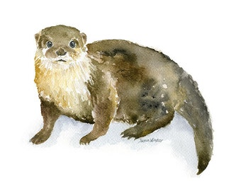 River Otter Watercolor Painting Giclee Reproduction - 10 x 8 / 11 x 8.5 - Fine Art Print Nursery Art Woodland Animal Print