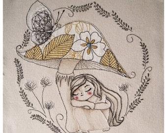 Thumbelina. Embroidery Art - Handmade Textile Art - Hand Stitched Embroidery.  Original hand embroidered