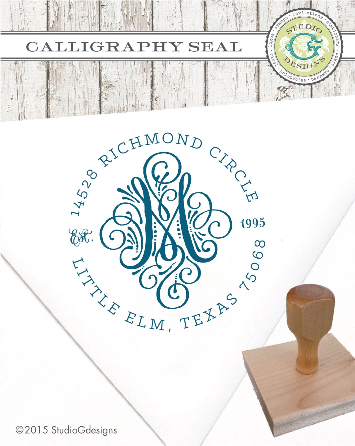 Return Address Stamp 2 In Calligraphy Seal Initial Monogram