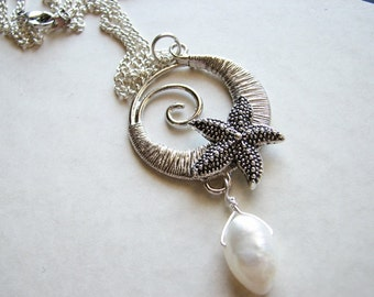 Silver necklace circle | spiral pendant | wave | starfish | freshwater pearl | ocean