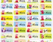120 PEPPA PIG Custom Waterproof Name Stickers-School,Daycare,Envelope Seal,Sippy Cup,Lunch Box,Water Bottle,Summer Camp,Stationary Tag