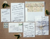 Reserved for Sarah - The Lafayette Invitation Suite - Vintage and Natural Elegance with Southern Charm - Balance due - Set of 43