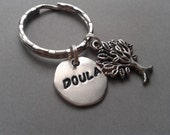 Doula Handstamped Keyring with Tree of Life Charm