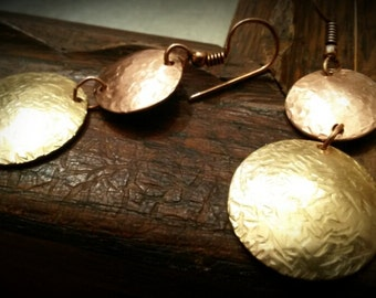 Hammered Brass and Copper Dangle Circle Earrings