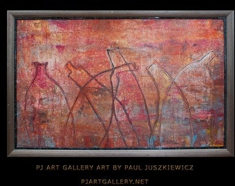 """Framed Modern Contemporary Abstract """"The Bottles"""" 38""""x26"""" by Paul Juszkiewicz"""