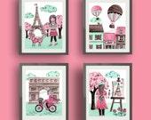 Paris art , Paris decor, baby nursery art decor, pink mint green nursery art, children nursery art,  paris room decor, travel bedding art