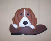 Handmade custom wooden dog and shoe wall plaque
