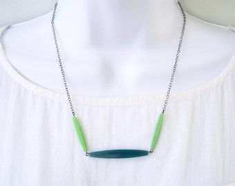 Simple Modern Necklace - Spring Green Jewelry, Teal, Vintage Acrylic Beads, Oxidized Look Silver, Fresh, Beaded