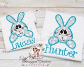 Boys Easter Bunny Face Shirt - Personalized Easter Shirt - Baby Boy Bunny Shirt - First Easter Outfit