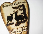 Deer Wedding Cake Topper -Buck and Doe with Tree, Camo, Hunting, Woodland -Personalized wood burning