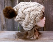 Women's Cable Knit Hat in Oatmeal Tweed with Dark Brown Faux Fur Pom Pom, Pom Pom Hat, Hat with Pom Pom, Slouchy Beanie Chunky Hat Off White