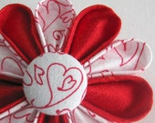 Red Silk Flower Pin - Cartoon Hearts in Red and White Kanzashi