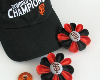 San Francisco Giants Lapel Pin - Silk Flower Pin with Logo Button - Boutonniére