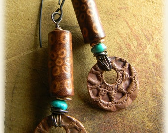 Tribal Copper Earrings Leather Turquoise Southwestern Rustic Jewelry