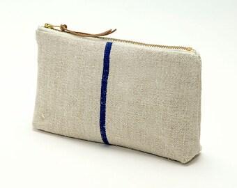 French Grain Sack Clutch Eco Friendly, Bag Noir, Handmade in Ireland, Formal, Wedding, Bride, Eco Wedding