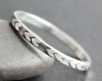 Two Hearts Ring Sterling Silver Band - Engraved Heart Pattern - Skinny Stacking Ring - Valentines Gift - Promise Ring