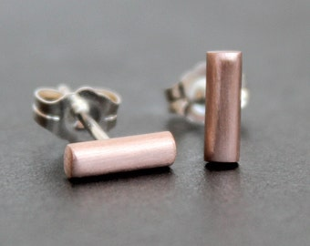 14K Rose Gold Bar Earrings 8x2.5mm - Post /Stud Earrings