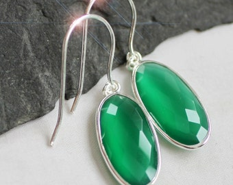 The Glory of Green - Beautiful Luminous Faceted Green Onyx Drop Sterling Silver Earrings