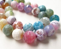 """Round Agate Beads, Multi Colored Round Agate Beads, Faceted Round Agate Gemstone,10mm, 7.5"""" Approx, Diy Easter Pastel Jewelry Making"""