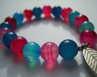 Pink and Blue bracelet - 10mm Agate, natural gem stone, beads, jewellery