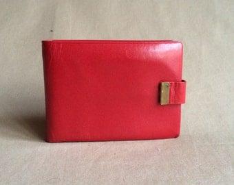 WEEKEND SALE 25% OFF / vintage mod red leather wallet / pocket purse / billfold / 1950's