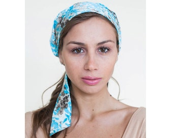 Easy Tie Silk & Cotton Pre-Tied Head Scarf in 100% Cotton and Silk