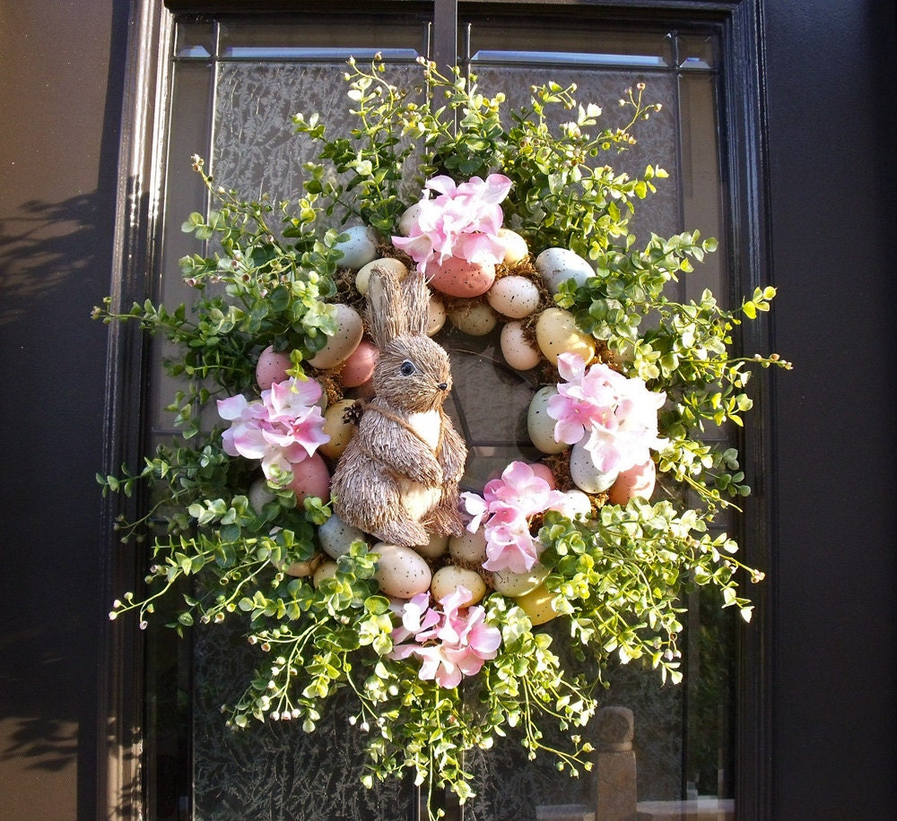 easter bunny wreath easter egg wreath easter door wreath