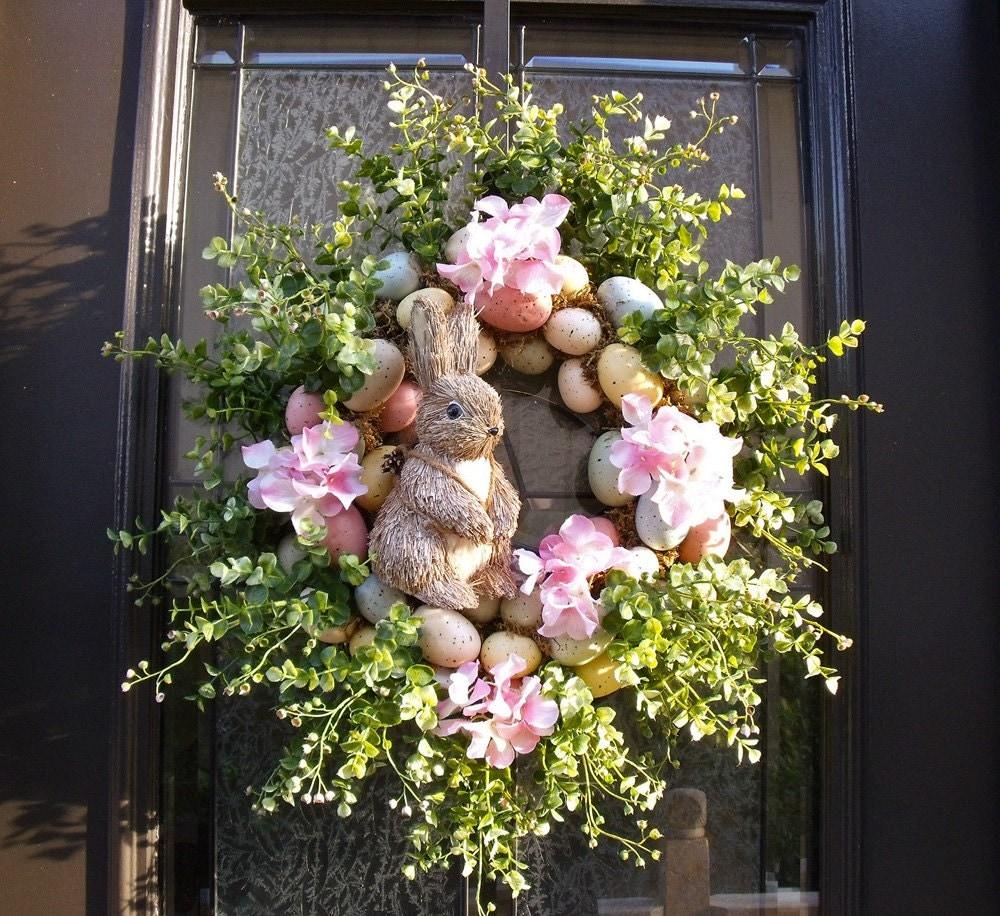 Easter Bunny Wreath Easter Egg Wreath Easter Door Wreath