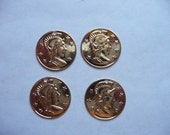 Charm, Gold Plated, Brass, 16mm, Roman, Coin, Replica, Stamping, Pkg Of 8