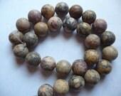 Beads, Designer Quality, Leopardskin Jasper, Gemstone, Natural, 14mm, Round, B Grade, Mohs hardness 6 to 7, Pkg Of 6