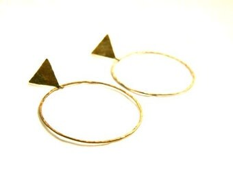 Hammered brass hoop earrings with triangle post