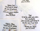 Embroidered Wedding Handkerchiefs, MOM, DAD, INLAWS, Set of 4 By Canyon Embroidery