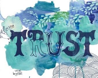 Trust Watercolor Art Print 11 x 14