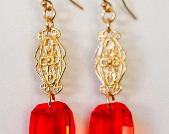 Red Swarovski Crystal Earrings with Gold Victorian Filigree, Gold Earrings, Gold Ornate Filigree Earrings, Statement Fashion Long Earrings