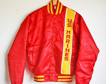 Vintage U.S. Marines Satin Jacket - Men's Medium