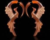 Fake Gauges, Fake Plugs, Handmade Horn Earrings, Tribal Style - Phoenix Translucent Horn