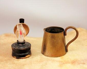 Miniature Brass Pitcher Kerosene Lantern Primitive Dollhouse