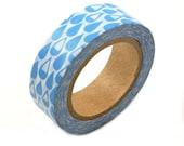 Light Blue Washi tape - RAIN DROPS blue washi masking tape - light blue masking tape with water droplets