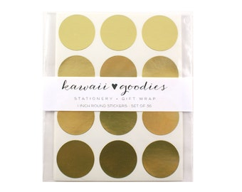 36 round Gold stickers  - 1 inch circle gold foil labels - FREE SHIPPING