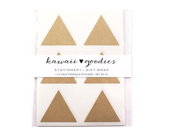 24 Kraft Brown Triangle Stickers | 1 1/2 inch kraft triangle labels - FREE SHIPPING