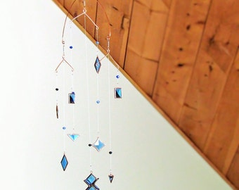 Hanging Geometric Mobile Blue and Copper Beveled Stained Glass Crystal Geometric Mobile Made in Canada