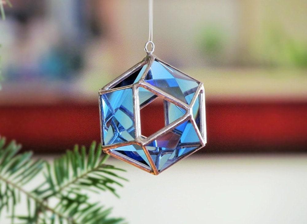 Christmas tree ornament blue glass crystal geometric