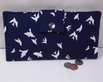 Bird Wallet, Navy Blue Womens Wallet,  Bifold Clutch Wallet, Made in USA