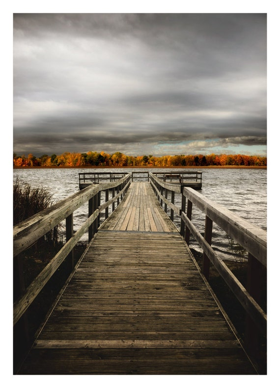 Large Canvas Wall Art Picture Dock & Lake Photography Autumn