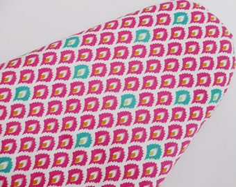 New Ironing Board Cover in Pink and Teal on White background. South Western Style.