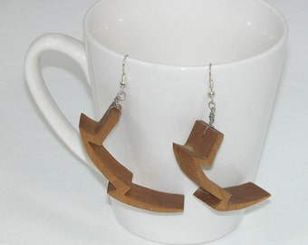 Dangle Earrings - Lightning Bolt Shape - Lightweight - Medium Golden Brown